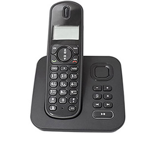 Handheld phone on stand.