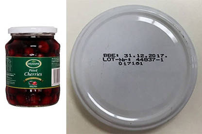Delmaine Pitted Cherries (680g). Batch and date marking are printed on the top of the lid.