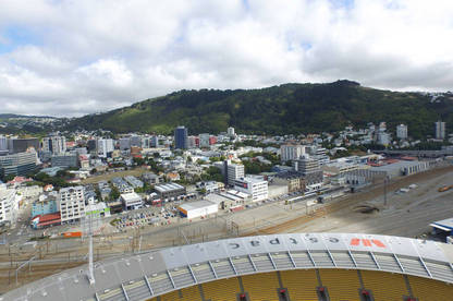 The view from 120m, the maximum permissible altitude under the CAA's new drone rules. Photo taken from the DJI Phantom 3 Standard flying above Westpac Stadium.