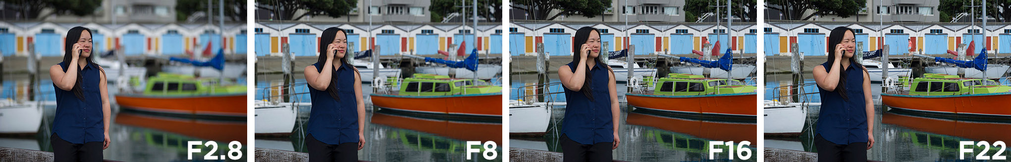 Four photographs taken with apertures from F2.8 to F22.
