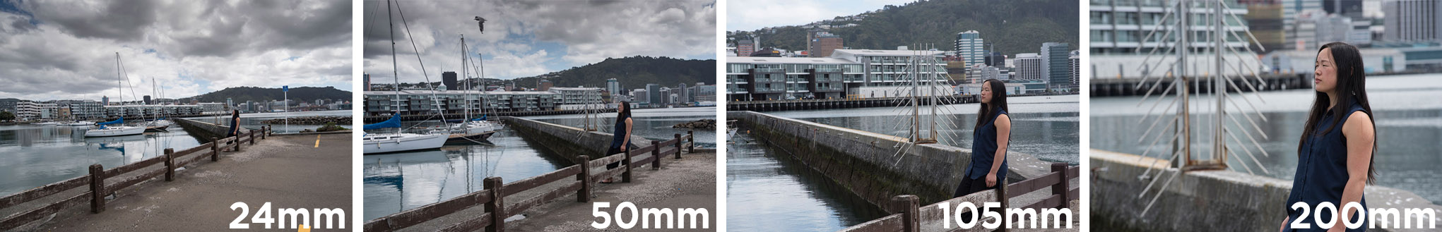 Four photographs taken with focal lengths from 24mm to 200mm.