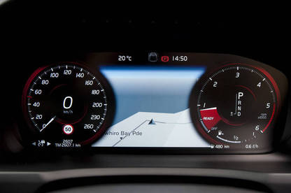 The dashboard displays are digital and the default view puts a map displaying your location between the speedo and tachometer.