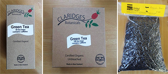 Left to right: Boxes of Claridges Botanicals Green Tea (30 bag box and 100 bag box) and Houjicha Tea Leaves (1kg packet).
