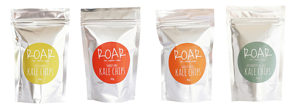 From left: ROAR Kale chips - Spicy Curry, Smokey BBQ, Garlic Chilli, Rosemary & Sea Salt flavours.