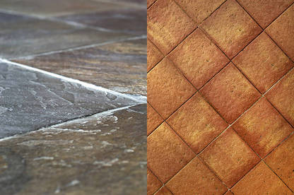 Untreated, textured slate (left) and terracotta (right) tiles were the grippiest indoor flooring products in our test and don't require any additional treatments.