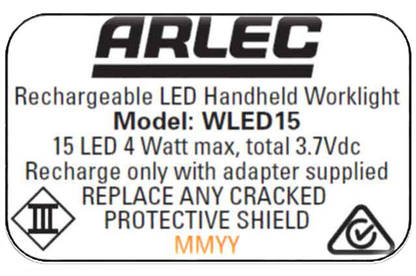 16jun arlec wled15 worklight label