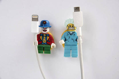 We made cable tidies from Lego mini-figures.