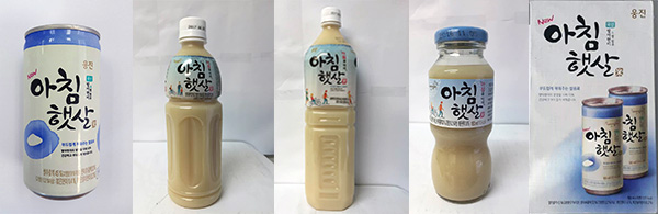 From left: Woongjin Morning Rice Drink — 180ml can, 500ml plastic bottle, 1.5L plastic bottle, 180ml glass bottle and 180ml x 15 gift box.