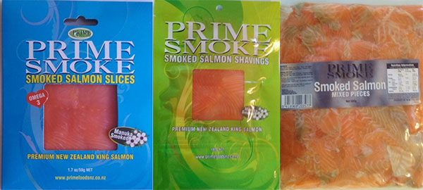 From left: Prime Smoke Smoked Salmon Slices (50g), Smoked Salmon Shavings (100g), and Smoked Salmon Mixed Pieces (500g)