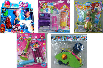 Clockwise from top-left: Beaut Surprised Girls doll, Dream House set, Fairy Doll, Pushing butterfly, Musical Band