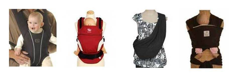 From left: front pack, soft structured carrier, sling and wrap.