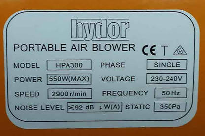 16oct hydor portable air blower label