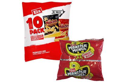 Top: Eta brand Munchos Mix 10 Pack (10 x 14g). Bottom: Eta brand Monster Munch Cheesy Bacon bags (14g).