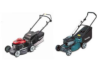 Petrol lawnmowers.