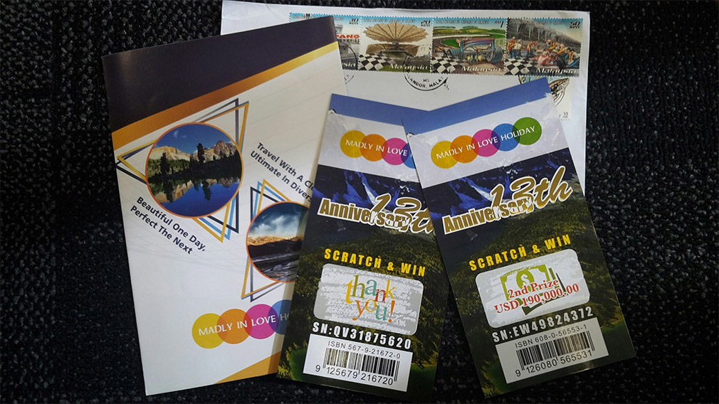 The brochure and scratchie cards that were received by a Wellington resident.