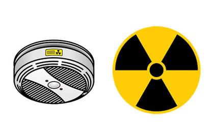 An ionisation alarm can be identified by a radiation symbol somewhere on the alarm body.
