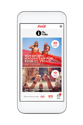 The MyCoke app lets you collect points for each marked Coke product you buy