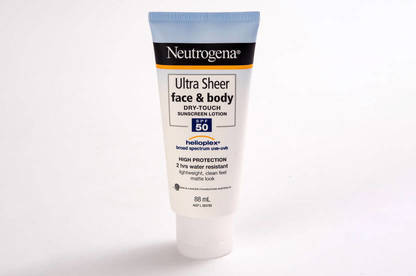 Neutrogena Ultra Sheer Face & Body Dry-Touch Sunscreen Lotion provides high protection but not the SPF 50 claimed.