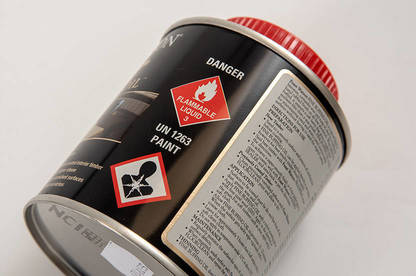 Look for warning symbols such as these that indicate hazardous substances.