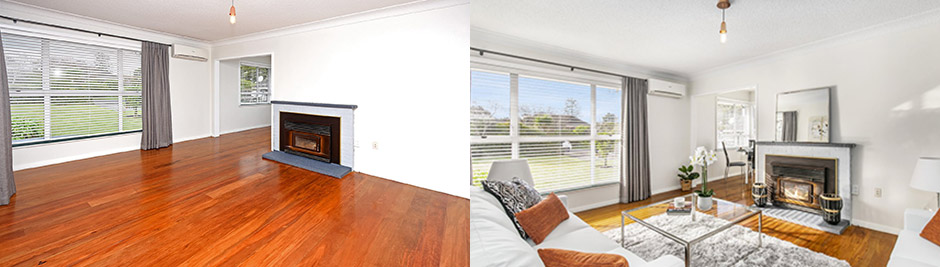 Left: Auckland Homestaging before. Right: Auckland Homestaging after