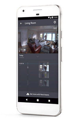 The Nest app or website can be used to view live video and hear sound.