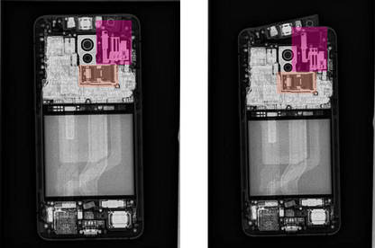 Pink rectangle: the Oppo has a sizeable mechanism moving the camera up and down; Orange rectangle: where the Reno's other cameras go front to back, the telephoto goes side to side.