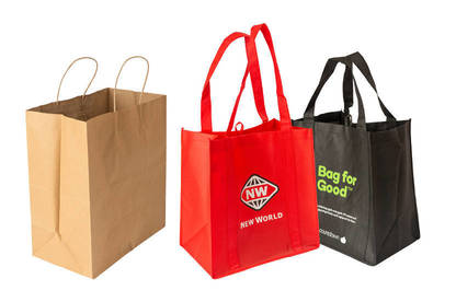Left to right: Brown paper bag; New World Bag; Bag for Good