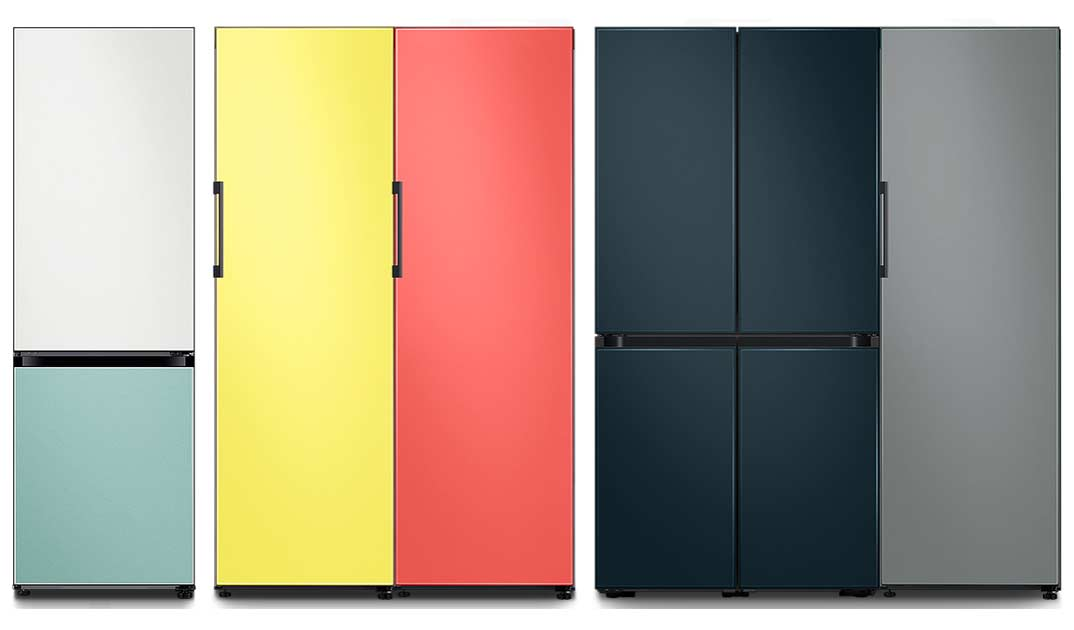 Samsung Bespoke fridge in different configurations and colours.