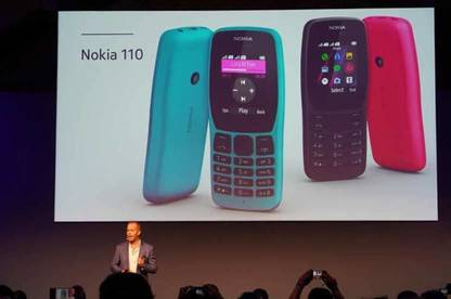 Nokia 110 displayed on projector at IFA Berlin tech trade show.