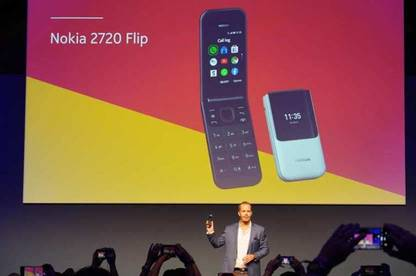 Nokia 2720 Flip phone displayed on projector at IFA Berlin tech trade show.