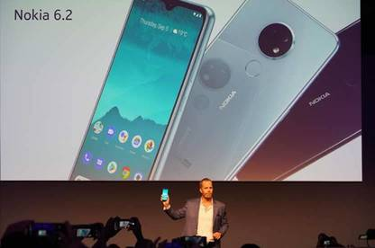 Nokia 6.2 phone displayed on projector at IFA Berlin tech trade show.