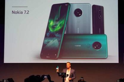Nokia 7.2 displayed on projector at IFA Berlin tech trade show.