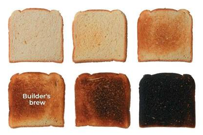 Six slices of toast at varying levels of brownness.