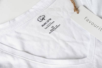 T-shirt with uncertified organic cotton logo.