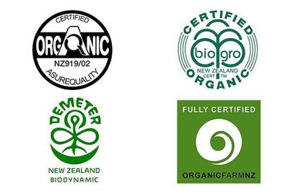 Logos for organic certification schemes in New Zealand: AsureQuality Organic, BioGro, Demeter and OrganicFarmNZ.