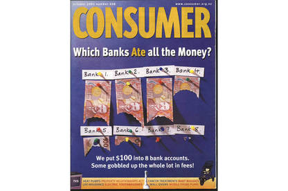 Consumer magazine image on unfair bank fees