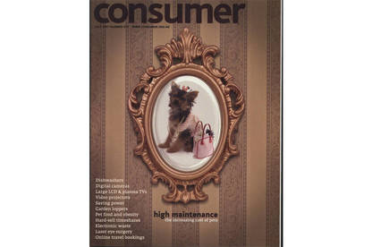Consumer magazine cover on cost of raising dog compared to raising a child.