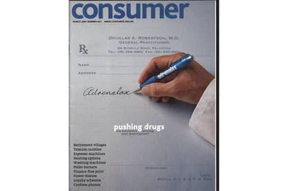 Consumer magazine cover on drug and pharmaceutical marketing