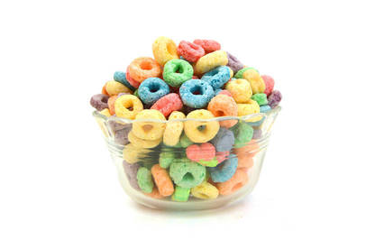 Bowl of high sugar cereal