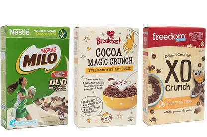 Boxes of sugary cereals
