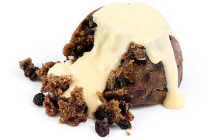 Christmas pudding with custard.