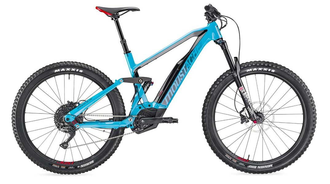 Moustache Race 4 electric mountain bike in blue.