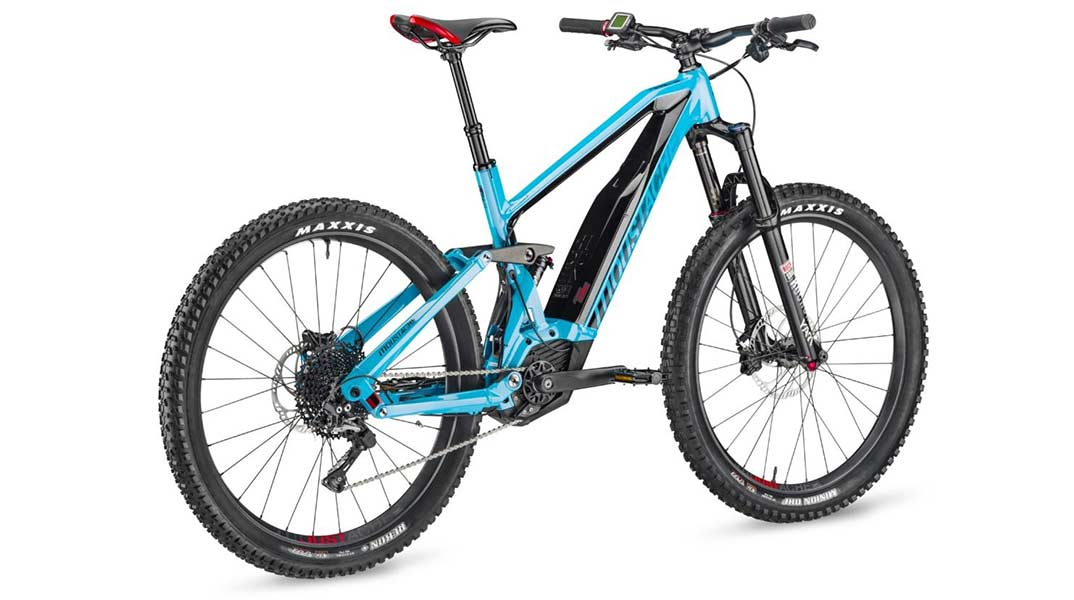 Rear view of Moustache Race 4 electric mountain bike in blue.