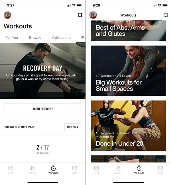 Screenshots of Nike Training Club.