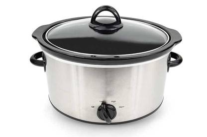 Slow cooker with glass lid.