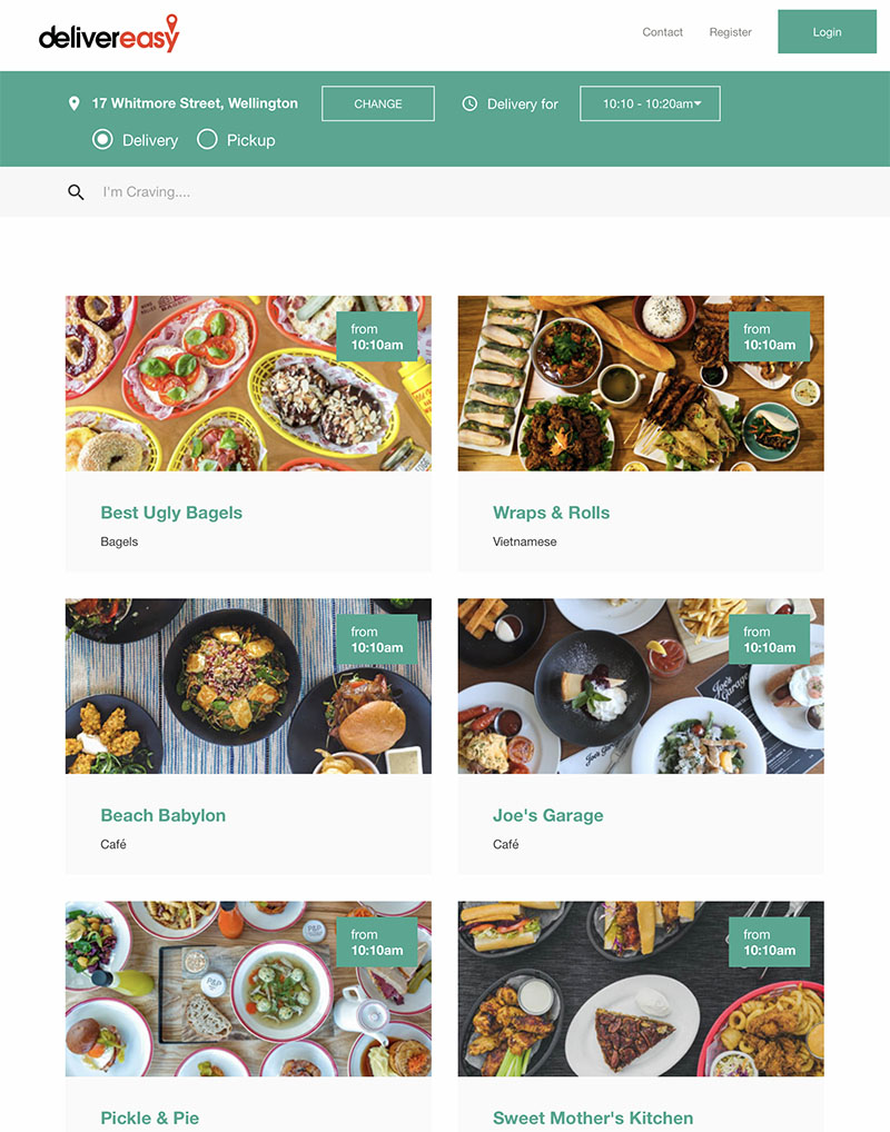 Delivereasy website displaying a range of cuisine options.