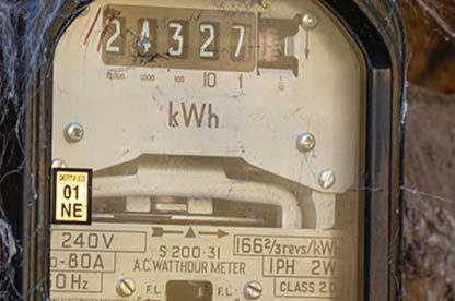 Analogue electricity meter.