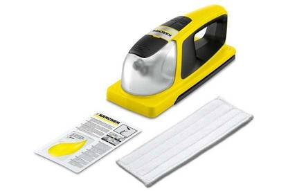 Karcher KV 4 with cleaning cloth and 20ml sample of Karcher glass cleaner concentrate.