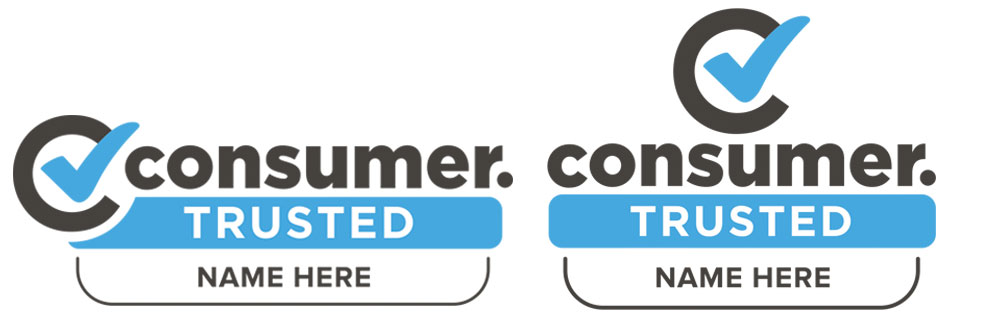 Examples of Consumer Trusted logo with brand name.