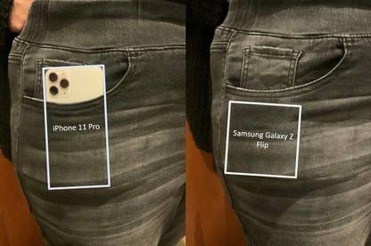 Comparing how the iPhone 11 Pro and Samsung Galaxy Z Flip fit in women's jeans pockets.